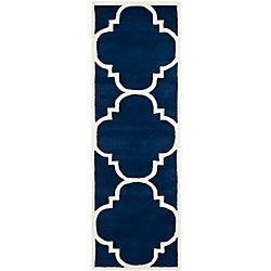 Safavieh Chatham Abe Dark Blue / Ivory 2 ft. 3 inch x 7 ft. Indoor Runner