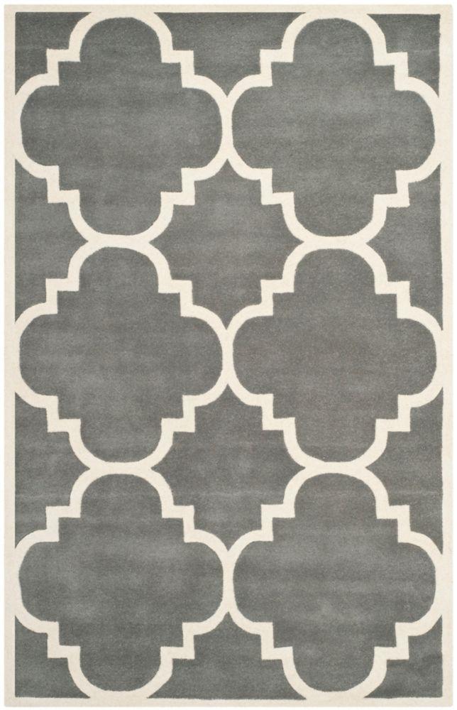 Chatham Abe Dark Grey / Ivory 5 ft. x 8 ft. Indoor Area Rug