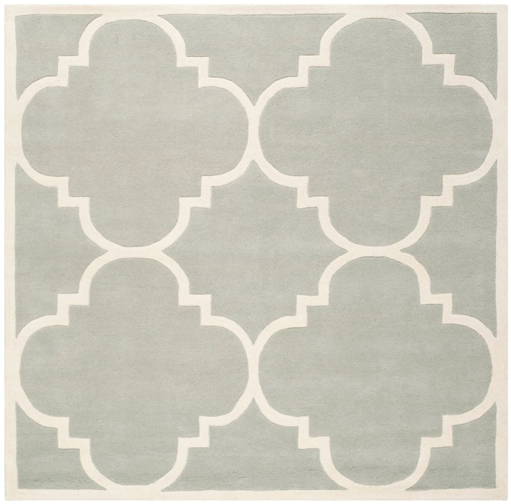 Chatham Abe Grey / Ivory 5 ft. x 5 ft. Indoor Square Area Rug