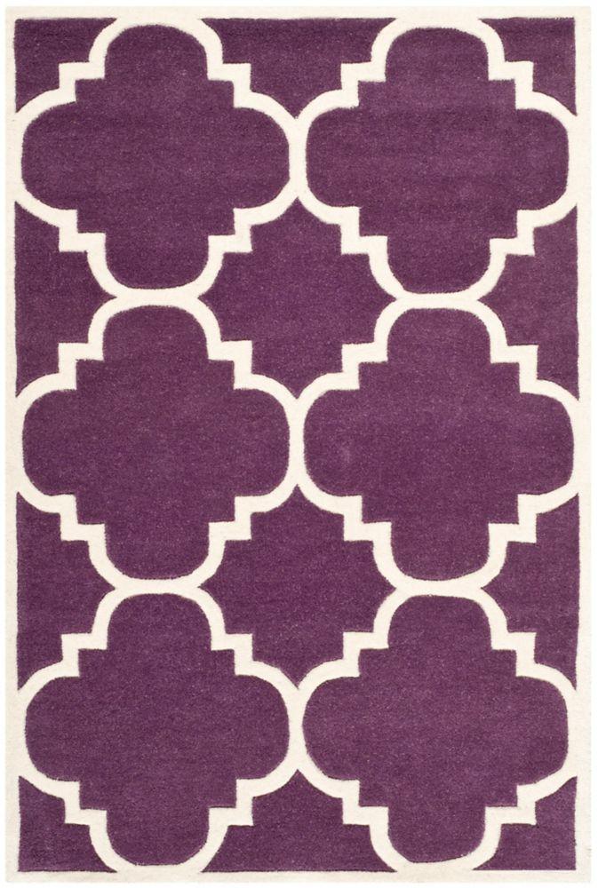 Chatham Abe Purple / Ivory 4 ft. x 6 ft. Indoor Area Rug