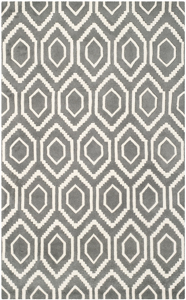 Chatham Beau Dark Grey / Ivory 6 ft. x 9 ft. Indoor Area Rug