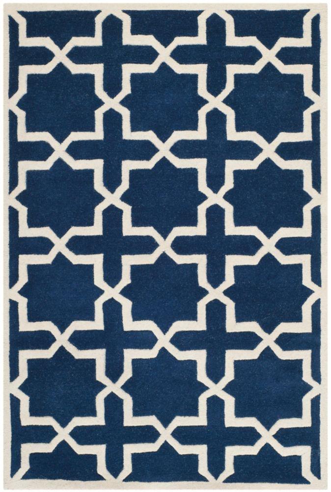Chatham Carlton Dark Blue / Ivory 5 ft. x 8 ft. Indoor Area Rug