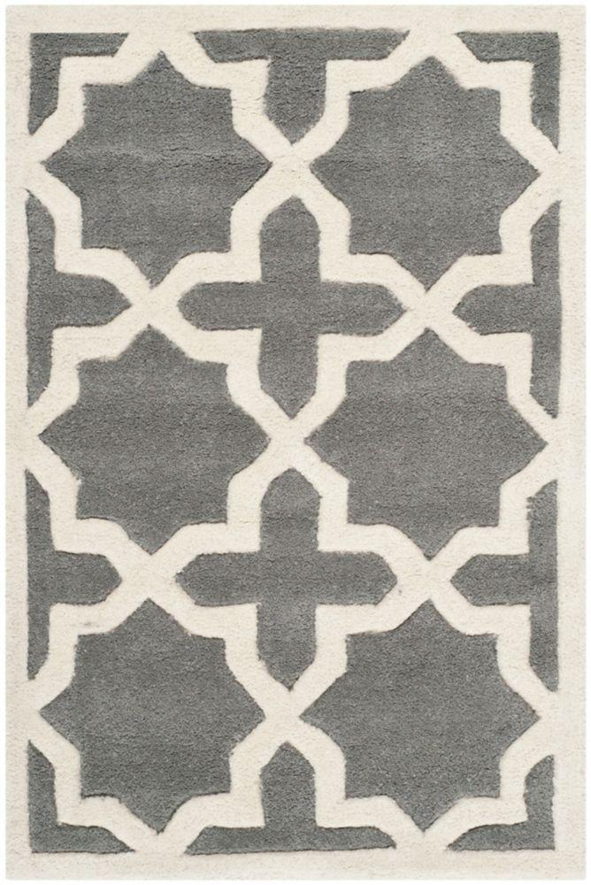 Chatham Carlton Dark Grey / Ivory 2 ft. x 3 ft. Indoor Area Rug