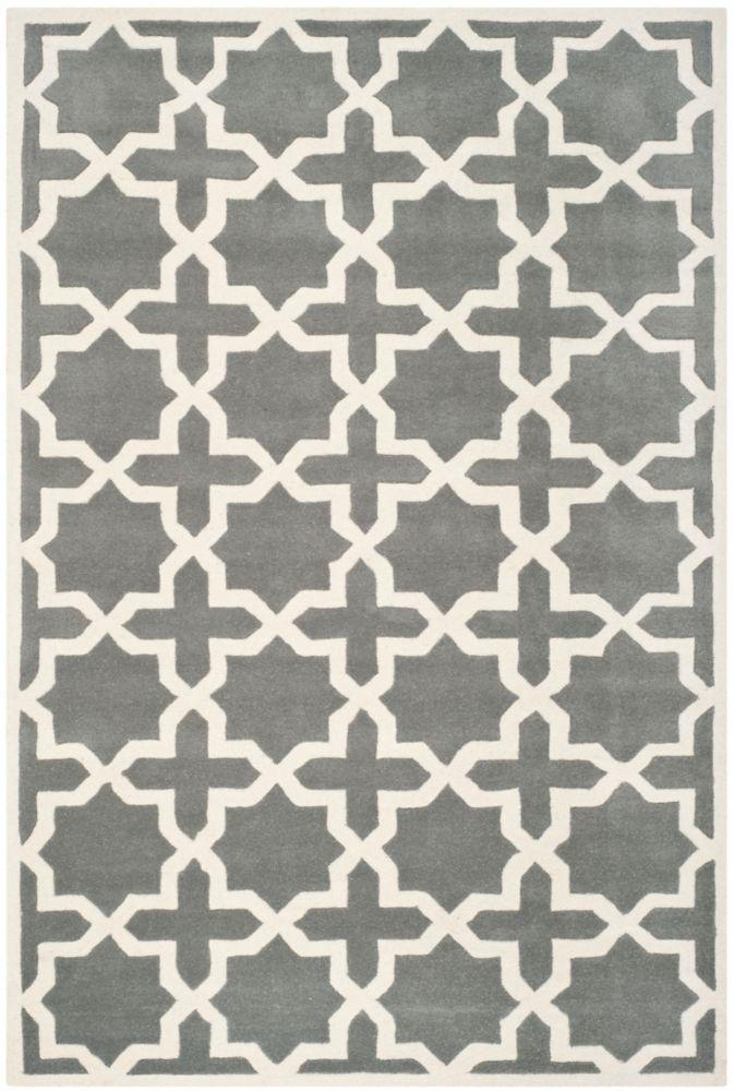 Chatham Carlton Dark Grey / Ivory 5 ft. x 8 ft. Indoor Area Rug