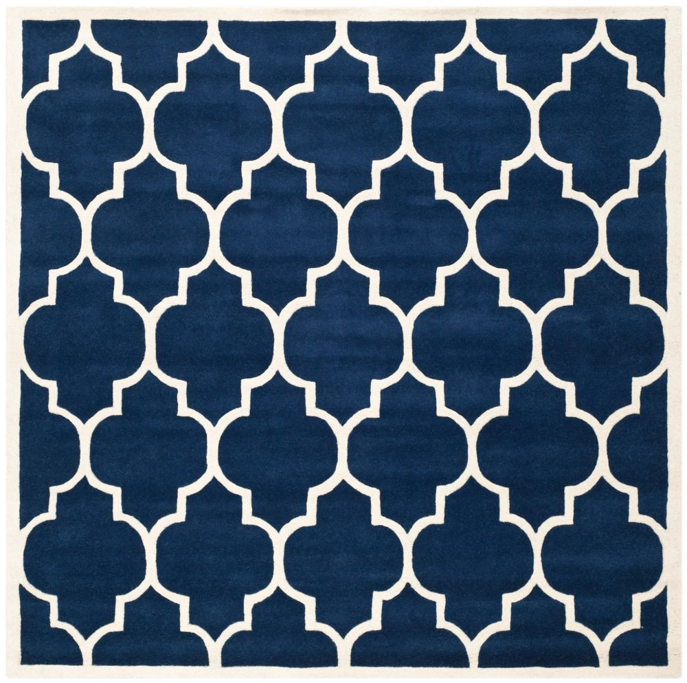 Chatham Caprice Dark Blue / Ivory 7 ft. x 7 ft. Indoor Square Area Rug
