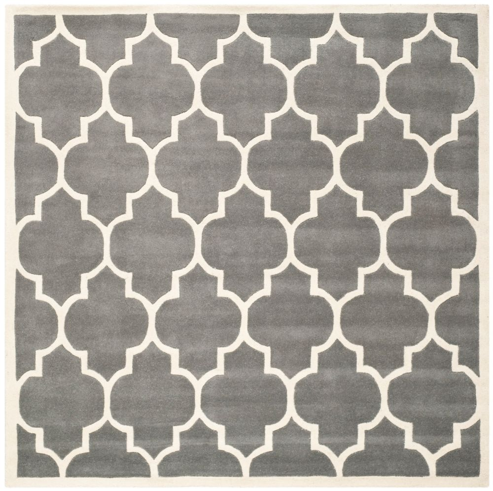 Chatham Caprice Dark Grey / Ivory 4 ft. x 4 ft. Indoor Square Area Rug
