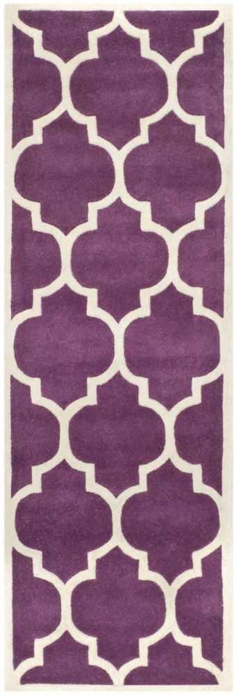 Safavieh Chatham Caprice Purple / Ivory 2 ft. 3 inch x 11 ft. Indoor Runner