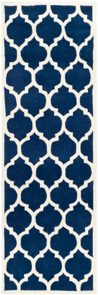 Chatham Candace Dark Blue / Ivory 2 ft. 3 inch x 7 ft. Indoor Runner