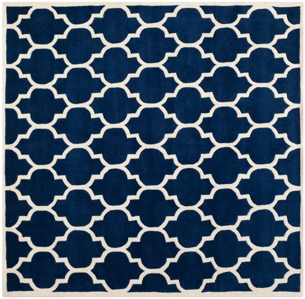 Chatham Candace Dark Blue / Ivory 5 ft. x 5 ft. Indoor Square Area Rug