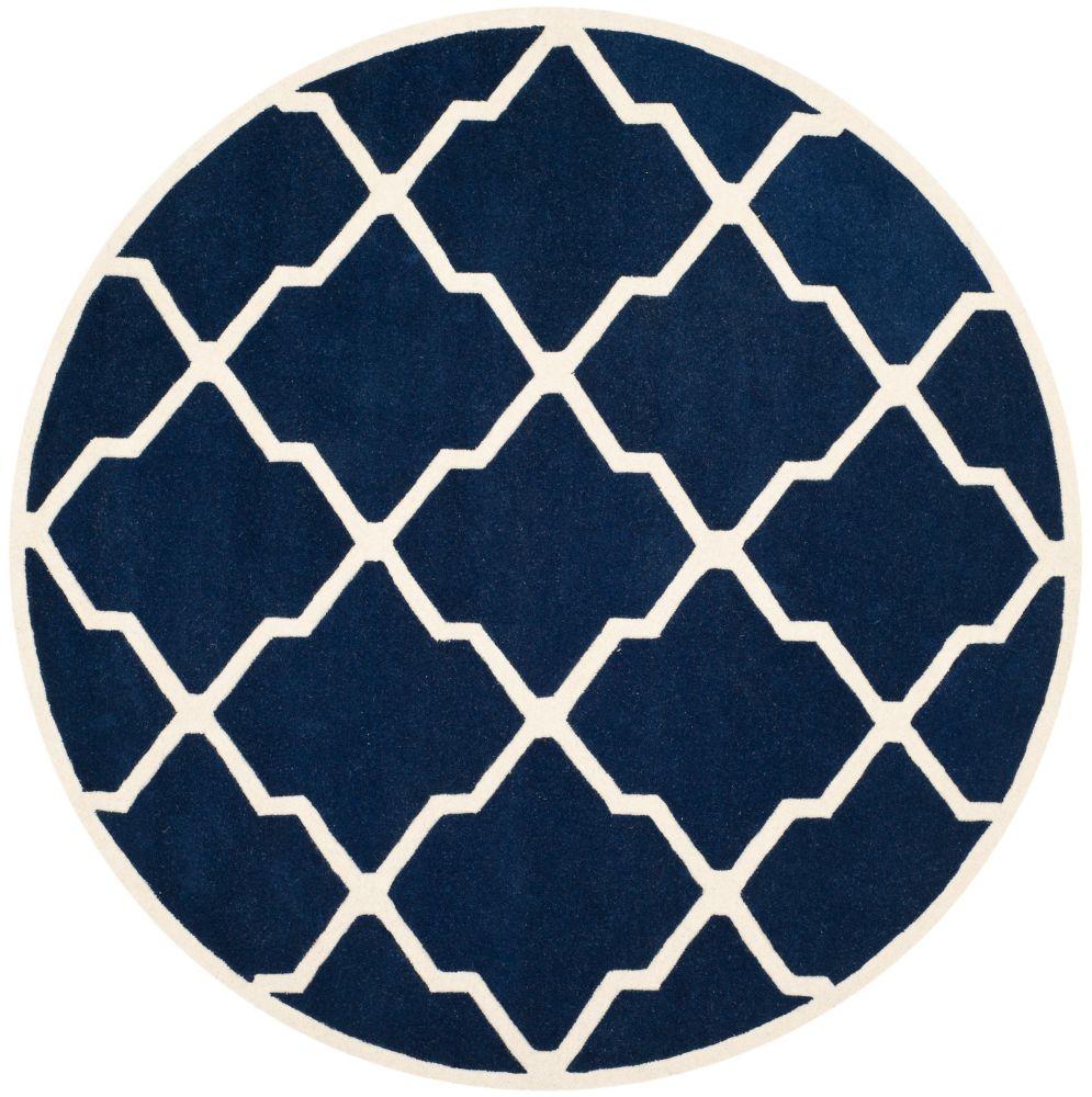 Safavieh Chatham Stephen Dark Blue / Ivory 5 ft. x 5 ft. Indoor Round Area Rug