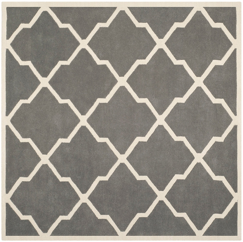 Chatham Stephen Dark Grey / Ivory 7 ft. x 7 ft. Indoor Square Area Rug