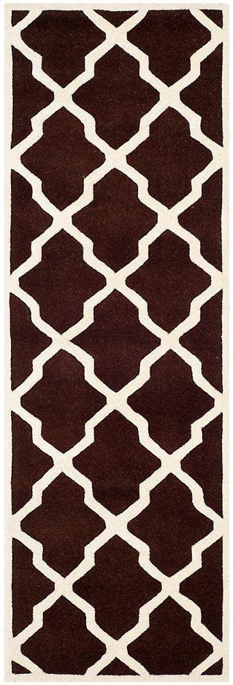 Tapis de passage d'intérieur, 2 pi 3 po x 9 pi, Chatham Stephen, brun foncé / ivoire
