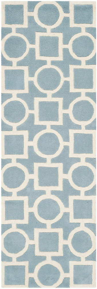 Chatham Sally Blue / Ivory 2 ft. 3 inch x 7 ft. Indoor Runner