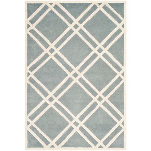 Safavieh Tapis d'intérieur, 4 pi x 6 pi, Chatham Patrick, bleu / ivoire
