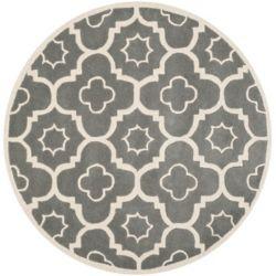 Safavieh Chatham Dedrick Dark Grey / Ivory 6 ft. 6 inch x 6 ft. 6 inch Indoor Round Area Rug