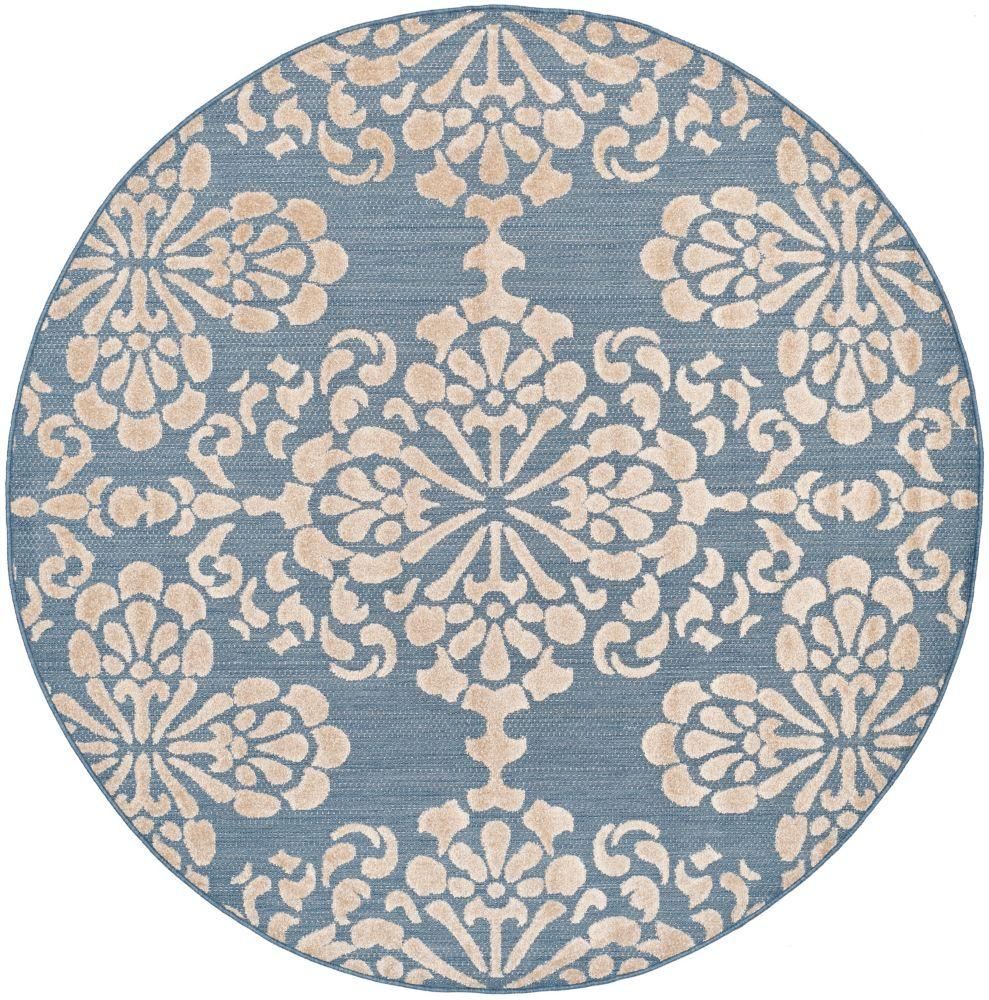 Safavieh Cottage Norman Light Blue / Beige 6 ft. 7 inch x 6 ft. 7 inch Indoor/Outdoor Round Area Rug
