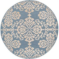 Safavieh Cottage Norman Light Blue / Beige 6 ft. 7 inch x 6 ft. 7 inch Indoor/Outdoor Round Area Rug
