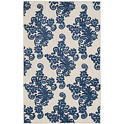 Safavieh Cottage Hector Light Grey / Royal Blue 3 ft. 3 inch x 5 ft. 3 inch Indoor/Outdoor Area Rug