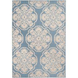 Safavieh Tapis d'intérieur/extérieur, 5 pi 3 po x 7 pi 7 po, Cottage Lyn, bleu clair / beige