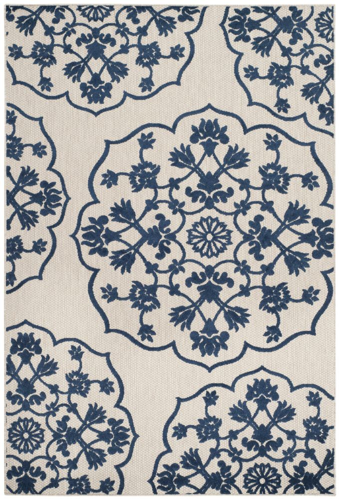 Safavieh Cottage Cynthia Light Grey / Royal Blue 4 ft. x 6 ft. Indoor/Outdoor Area Rug