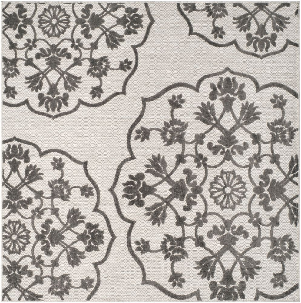 Safavieh Cottage Cynthia Cream / Grey 6 ft. 7 inch x 6 ft. 7 inch Indoor/Outdoor Square Area Rug