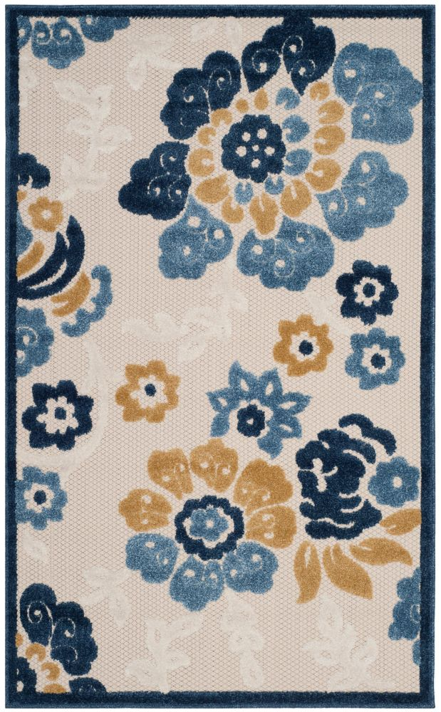 Safavieh Cottage Craig Ivory / Blue 3 ft. 3 inch x 5 ft. 3 inch Indoor/Outdoor Area Rug