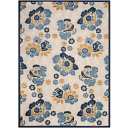 Safavieh Cottage Craig Ivory / Blue 6 ft. 7 inch x 9 ft. 6 inch Indoor/Outdoor Area Rug