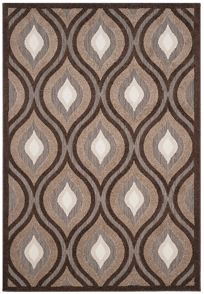 Cottage Ruth Light Brown / Brown 6 ft. 7 inch x 9 ft. 6 inch Indoor/Outdoor Area Rug