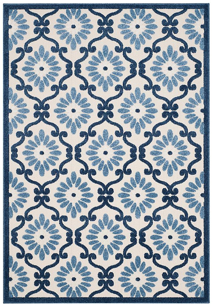 Tapis d'intérieur/extérieur, 5 pi 3 po x 7 pi 7 po, Cottage Salazar, ivoire / bleu
