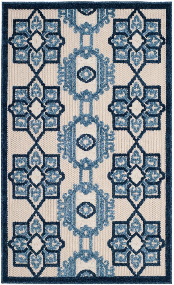 Safavieh Cottage Kierra Ivory / Blue 3 ft. 3 inch x 5 ft. 3 inch Indoor/Outdoor Area Rug