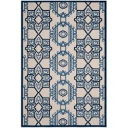 Safavieh Tapis d'intérieur/extérieur, 5 pi 3 po x 7 pi 7 po, Cottage Kierra, ivoire / bleu