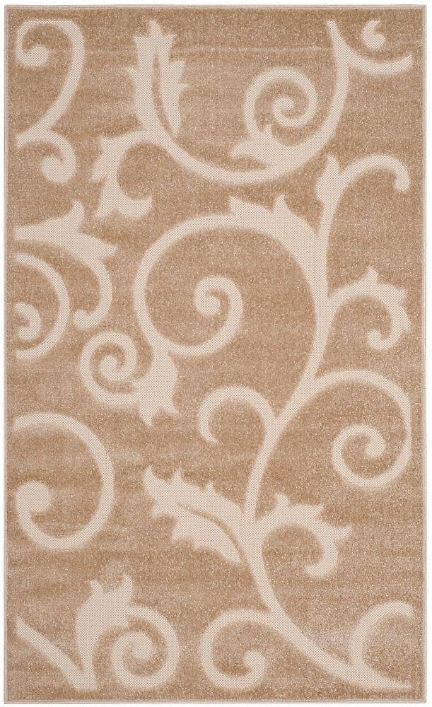 Tapis d'intérieur/extérieur, 3 pi 3 po x 5 pi 3 po, Cottage Oliver, beige clair / crème