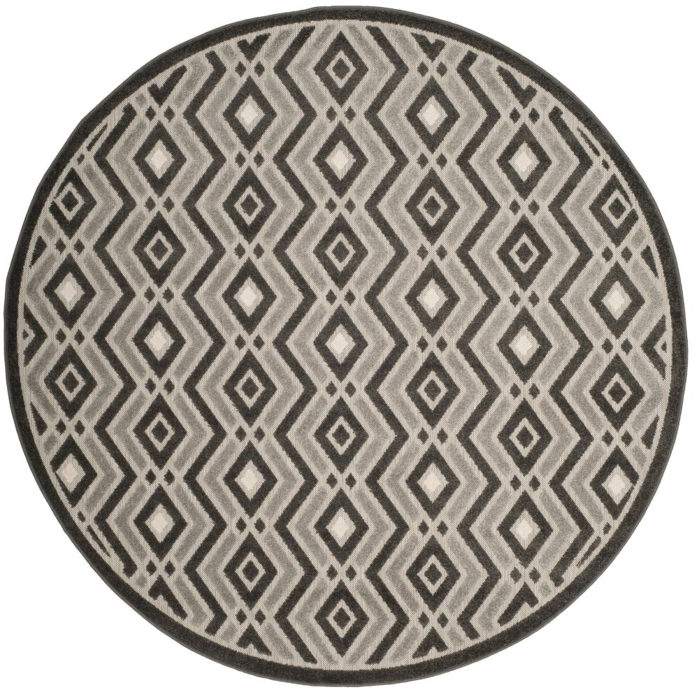 Safavieh Cottage Andrew Dark Grey / Light Grey 6 ft. 7 inch x 6 ft. 7 inch Indoor/Outdoor Round Area Rug