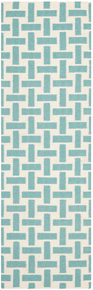 Dhurries James Turquoise / Ivory 2 ft. 6 inch x 8 ft. Indoor Runner