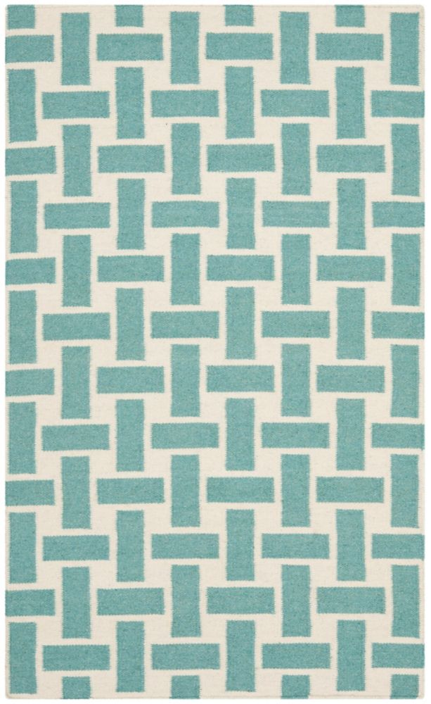 Safavieh Dhurries James Turquoise / Ivory 3 ft. x 5 ft. Indoor Area Rug