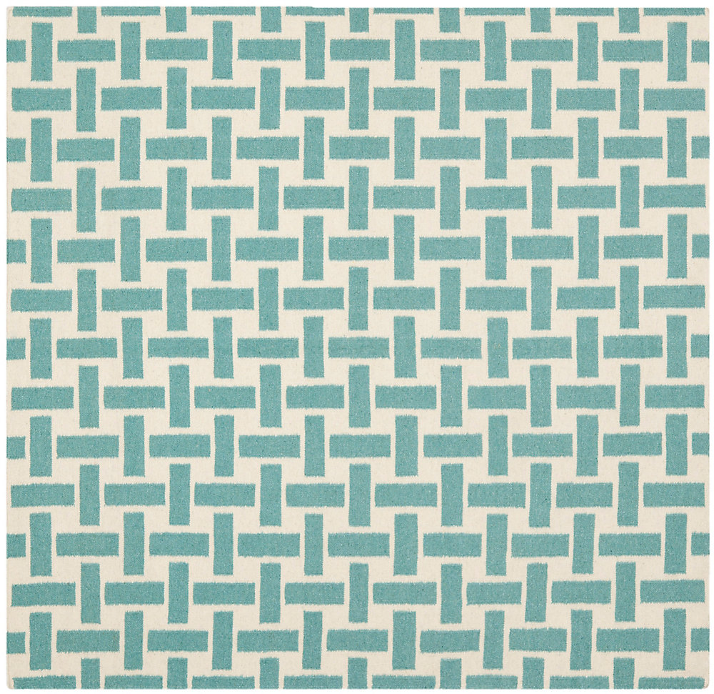 Dhurries James Turquoise / Ivory 6 ft. x 6 ft. Indoor Square Area Rug