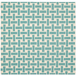 Safavieh Dhurries James Turquoise / Ivory 6 ft. x 6 ft. Indoor Square Area Rug