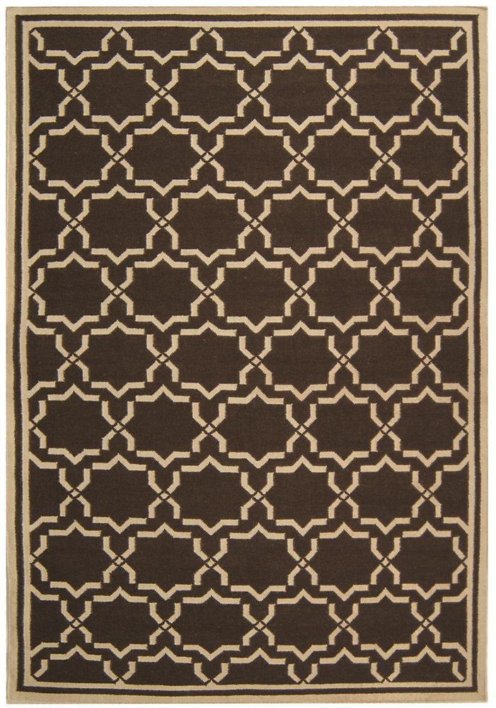 Tapis d'intérieur, 5 pi x 8 pi, Dhurries Nader, chocolat / ivoire
