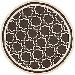 Safavieh Dhurries Nader Chocolate / Ivory 6 ft. x 6 ft. Indoor Round Area Rug