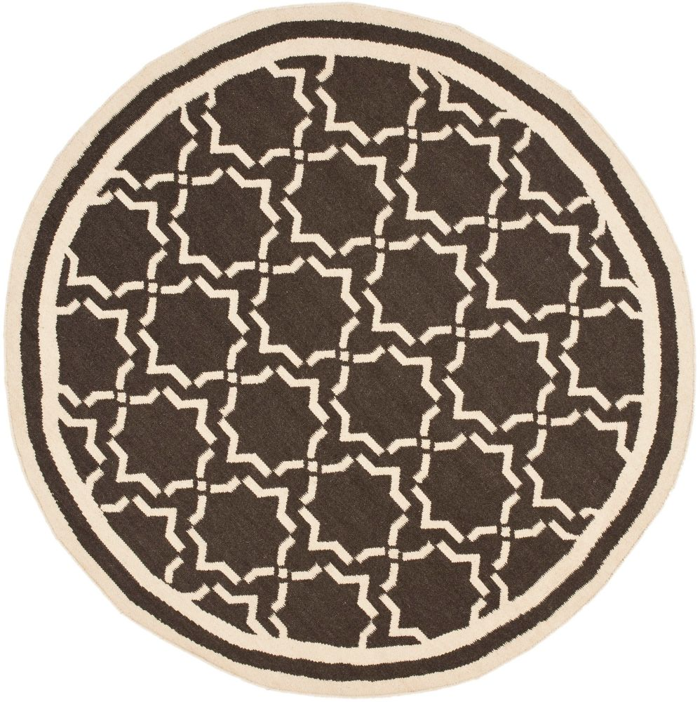 Safavieh Dhurries Nader Chocolate / Ivory 6 ft. x 6 ft. Indoor Round Area Rug
