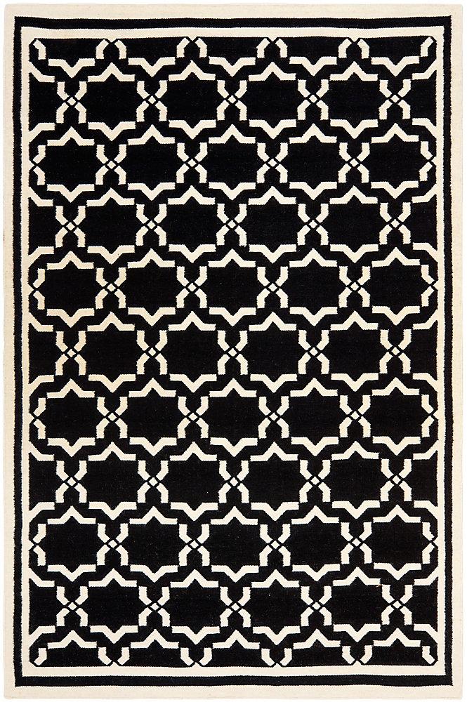 Dhurries Nader Black / Ivory 4 ft. x 6 ft. Indoor Area Rug