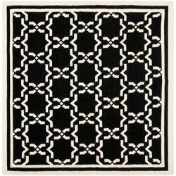 Safavieh Dhurries Nader Black / Ivory 6 ft. x 6 ft. Indoor Square Area Rug