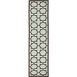 Safavieh Dhurries Noel Light Blue 2 ft. 6 inch x 12 ft. Indoor Runner