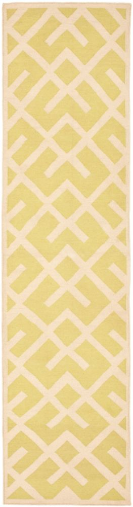 Safavieh Dhurries Iris Light Green / Ivory 2 ft. 6 inch x 12 ft. Indoor Runner