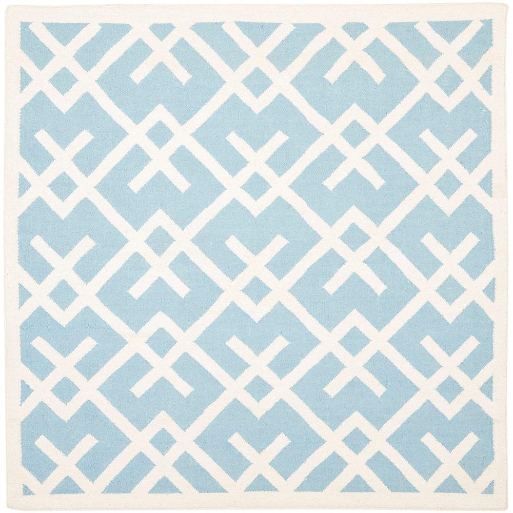 Tapis d'intérieur carré, 6 pi x 6 pi, Dhurries Iris, bleu clair / ivoire
