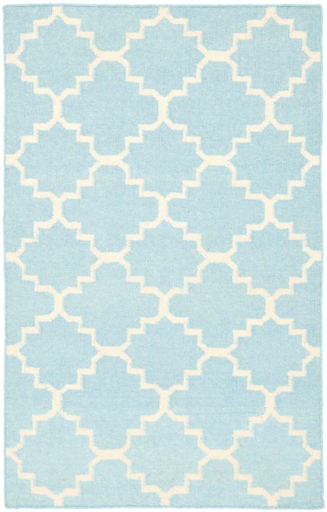 Safavieh Dhurries Franz Light Blue / Ivory 3 ft. x 5 ft. Indoor Area Rug