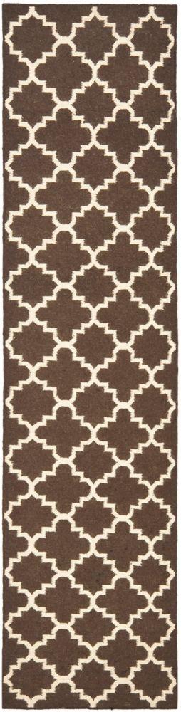 Safavieh Tapis de passage d'intérieur, 2 pi 6 po x 10 pi, Dhurries Franz, brun / ivoire