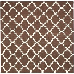 Safavieh Dhurries Franz Brown / Ivory 6 ft. x 6 ft. Indoor Square Area Rug