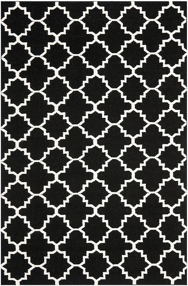 Dhurries Franz Black / Ivory 6 ft. x 9 ft. Indoor Area Rug