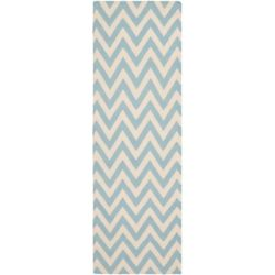 Safavieh Dhurries Ash Blue / Ivory 2 ft. 6 inch x 6 ft. Indoor Runner